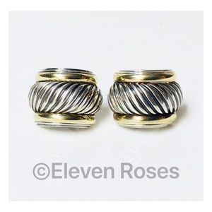 David Yurman XL Sterling & 14k Huggie Earrings